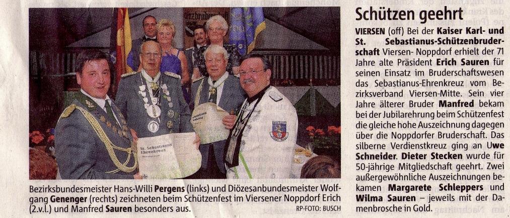 Verleihung Sebastianus Ehrenkreuz